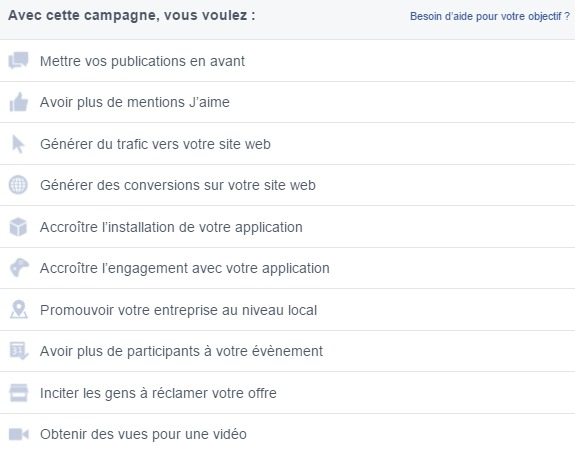 objectifs sur business facebook manager